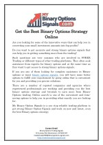 Get the Best Binary Options Strategy Online