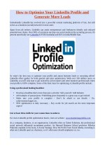 How to Optimize Your LinkedIn Profile and Generate More Leads