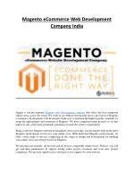 Magento eCommerce Web Development Company India