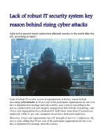 Lack of robust IT security system key reason behind rising cyber attacks