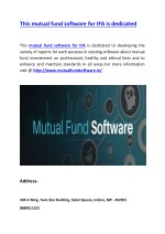 This mutual fund software for IFA is dedicated