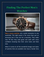 Finding The Perfect Men's Watches