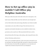 How to Set up office 365 in mobile? Call Office 365 Helpline Australia