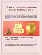 12 Month Loans – Your Immediate Trick to Tackle Cash Crisis