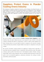 Protect Ovens in Powder Coating