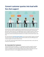 Convert customer queries into lead with live chat support