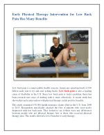 Early Physical Therapy Intervention for Low Back Pain Has Many Benefits