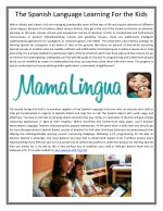 The Spanish Language Learning For the Kids