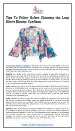 Tips To Follow Before Choosing the Long Sleeve Kimono Cardigan