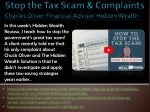 Stop the Tax Scam & Complaints by Charles Oliver Financial Advisor Hidden Wealth