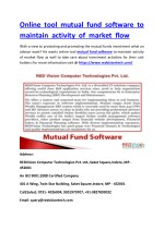 Online tool mutual fund software to maintain activity of market flow