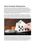Check The Details: Betting Online