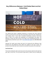 How Cold Rolled Steel And Hot Rolled Steel Are Different ??