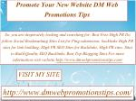 Promote Your New Website | DM Web Promotions Tips