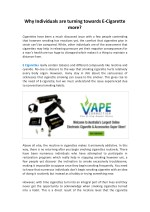 Why Individuals are turning towards E-Cigarette more?