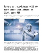 Future of jobs: Robots will do more tasks than humans by 2025, says WEF