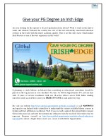 Give your PG Degree an Irish Edge
