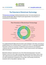 The Potential of Blockchain Technology