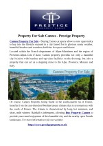 Property For Sale Cannes - Prestige Property