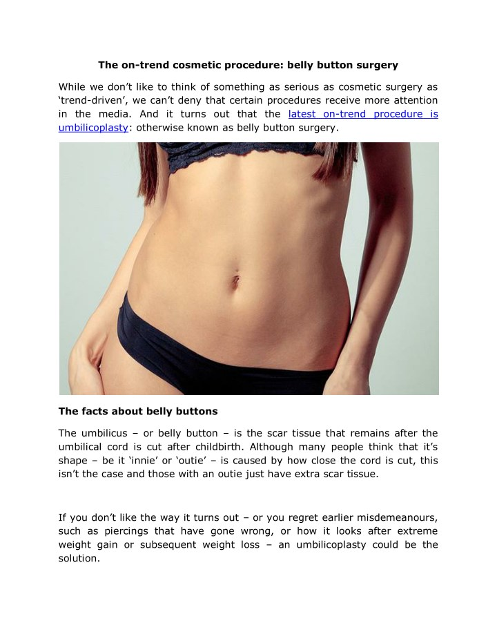 the on trend cosmetic procedure belly button n.
