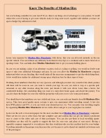 Know The Benefits of Minibus Hire