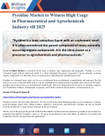 Pyridine Market to Witness High Usage in Pharmaceutical and Agrochemicals Industry till 2025