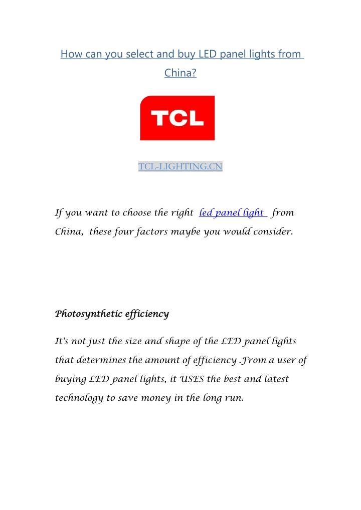 how can you select and buy led panel lights from n.