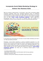 Incorporate Social Media Marketing Strategy to Achieve Your Business Goals