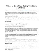 Things to Know When Tinting Your Home Windows