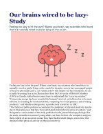 Our brains wired to be lazy: Study
