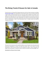 The Rising Trend of Houses for Sale in Canada