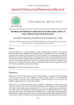 Synthesis and biological evaluation of anti-tubercular activity of some synthesised pyrazole derivatives