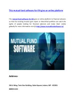 This mutual fund software for IFA give an online platform