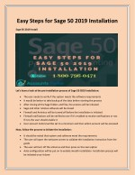 Easy Steps for Sage 50 2019 Installation   Call 1-800-796-0471 for support