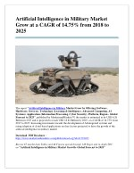 Artificial Intelligence in Military Market Grow at a CAGR of 14.75% from 2018 to 2025