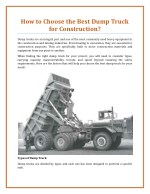 How to Choose the Best Dump Truck for Construction?