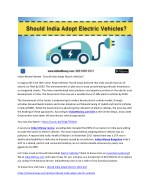 Indian Money Review - Should India Adopt Electric Vehicles?