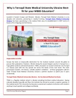 Why is Ternopil State Medical University Ukraine Best-fit for your MBBS Education?