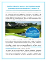 Diamond Community Services Is One Major Name among Homeowners Association Management Companies PA