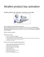 Mcafee product key activation