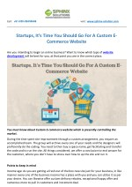 Startups, It's Time You Should Go For A Custom E-Commerce Website