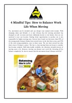 4 Mindful Tips: How to Balance Work Life When Moving