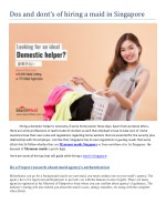 dos and don'ts of hiring maids in Singapore - Choose Right Maid Agency