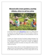 McLeod Sells 6 More Gardens; Courting Alibaba, Others to Sell Tea Online