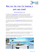 What are the tips for keeping a pool spa clean?