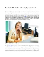 The Jobs for Office Staff and Other Employment in Canada