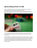 Sports Betting Online For Mlb