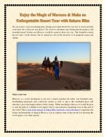Enjoy the Magic of Morocco & Make an Unforgettable Desert Tour with Sahara Bliss
