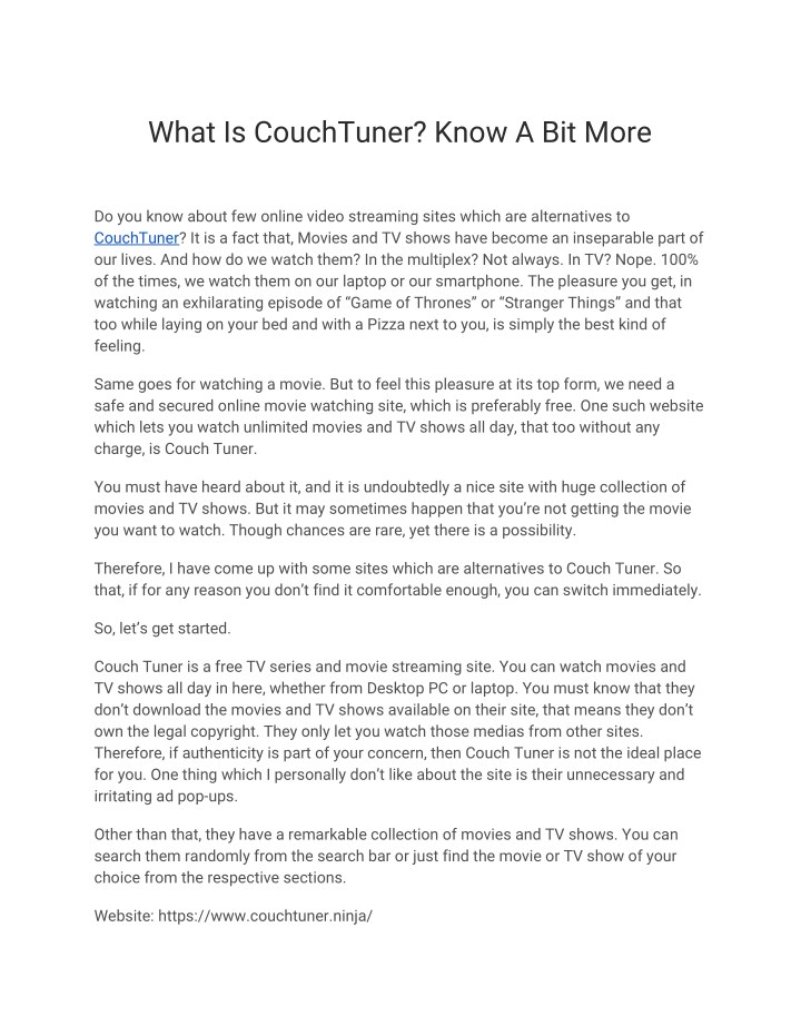 what is couchtuner know a bit more n.