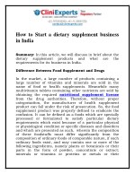 How to Start a dietary supplement business in India